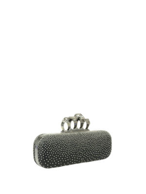 Alexander Mcqueen: clutches online - Leather Knuckle clutch with studs