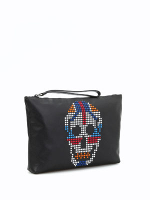 Alexander Mcqueen: clutches online - Multicolour skull leather pouch