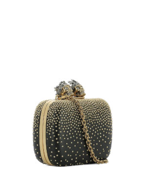 Alexander Mcqueen: clutches online - Nappa box clutch with gold studs