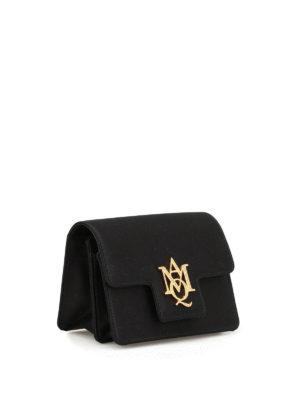 Alexander Mcqueen: clutches online - Rhinestone logo satin small bag