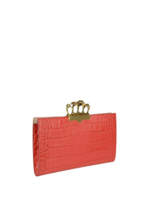 Alexander Mcqueen: clutches online - Skull four rings red clutch