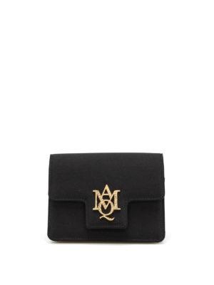 Alexander Mcqueen: clutches - Rhinestone logo satin small bag