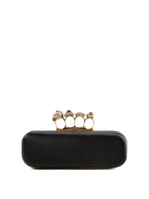 ALEXANDER MCQUEEN: pochette - Clutch in raso con anelli gioiello