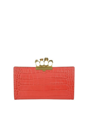 Alexander Mcqueen: clutches - Skull four rings red clutch