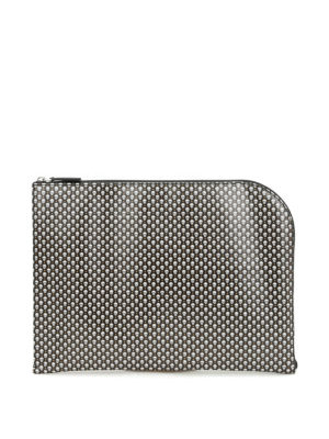 Alexander Mcqueen: clutches - Skull pattern coated canvas clutch