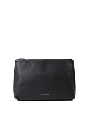 Alexander Mcqueen: clutches - Soft leather top zip medium pouch