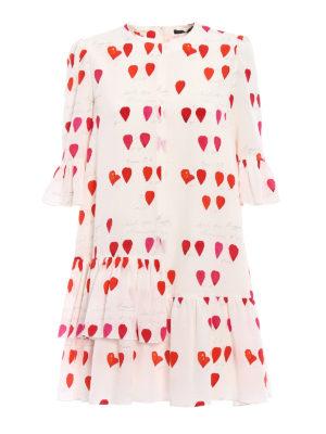 Alexander Mcqueen: cocktail dresses - Ruffled petal print silk over dress