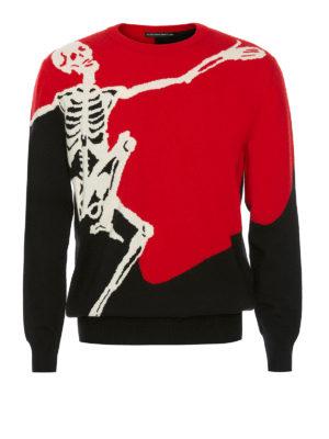 Alexander Mcqueen: crew necks - Dancing Skeleton wool blend sweater