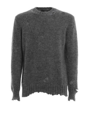 Alexander Mcqueen: crew necks - Distressed mohair and silk sweater