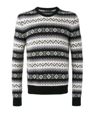 Alexander Mcqueen: crew necks - Geometric intarsia cashmere sweater