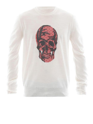 Alexander Mcqueen: crew necks - Jacquard Skull wool sweater