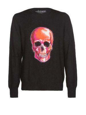ALEXANDER MCQUEEN: maglia collo rotondo - Pull in lana con intarsio Skull in mohair