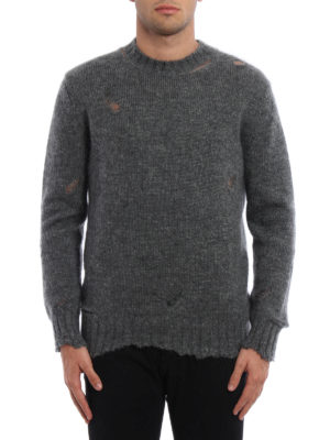 Alexander Mcqueen: crew necks online - Distressed mohair and silk sweater