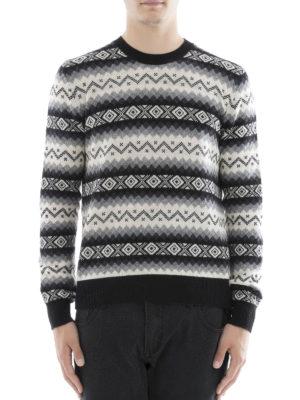 Alexander Mcqueen: crew necks online - Geometric intarsia cashmere sweater