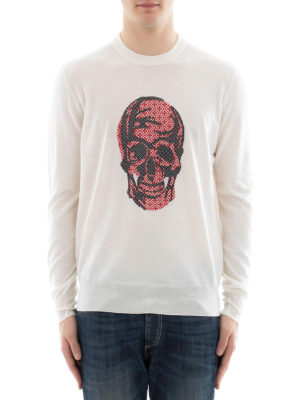 Alexander Mcqueen: crew necks online - Jacquard Skull wool sweater