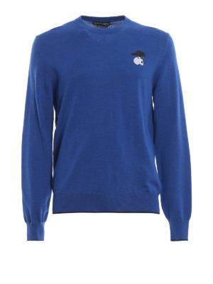 ALEXANDER MCQUEEN: maglia collo rotondo - Girocollo bluette in lana con corvo ricamato