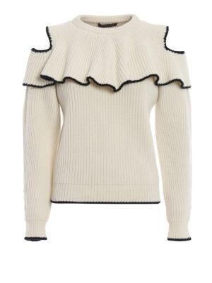 ALEXANDER MCQUEEN: maglia collo rotondo - Pull girocollo in lana e cashmere con ruches