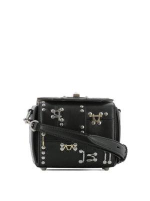 ALEXANDER MCQUEEN: borse a tracolla - Box Bag 16 in pelle nera