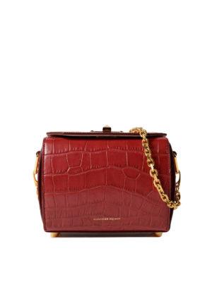 Alexander Mcqueen: cross body bags - Box Bag 19 dark red evening bag