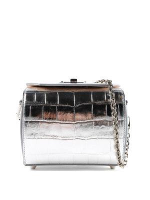 ALEXANDER MCQUEEN: borse a tracolla - Box bag 19 in pelle metallizzata