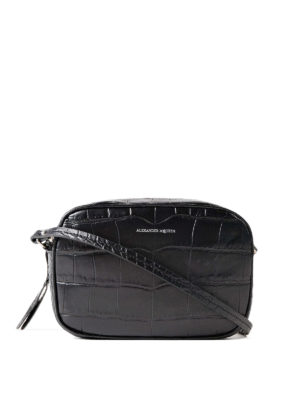 Alexander Mcqueen: cross body bags - Croco print leather black crossbody