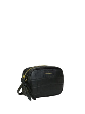Alexander Mcqueen: cross body bags online - Black croco print leather crossbody