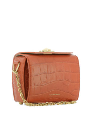 Alexander Mcqueen: cross body bags online - Box Bag 19 croco print crossbody