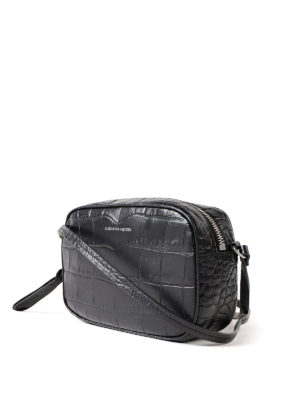 Alexander Mcqueen: cross body bags online - Croco print leather black crossbody