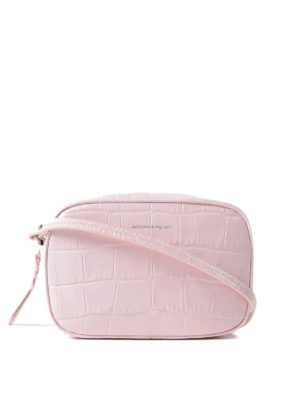 Alexander Mcqueen: cross body bags - Pink croco print leather crossbody
