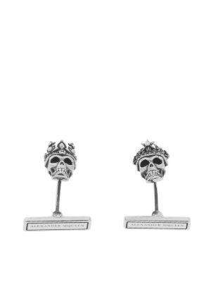ALEXANDER MCQUEEN: Gemelli - Gemelli in ottone argento Skull heads