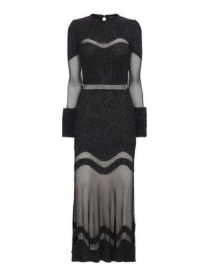 Alexander Mcqueen: evening dresses - Bouclé wool and silk mesh dress