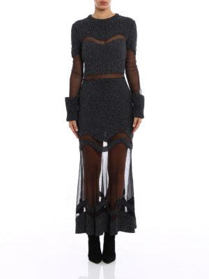 Alexander Mcqueen: evening dresses online - Bouclé wool and silk mesh dress