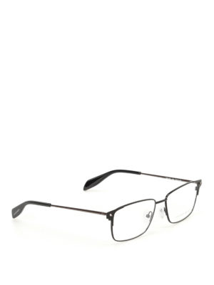 Alexander Mcqueen: glasses - Black metal eyeglasses
