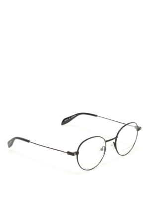 Alexander Mcqueen: glasses - Black metal round eyeglasses