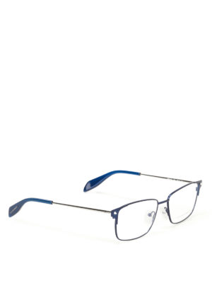 Alexander Mcqueen: glasses - Blue metal eyeglasses