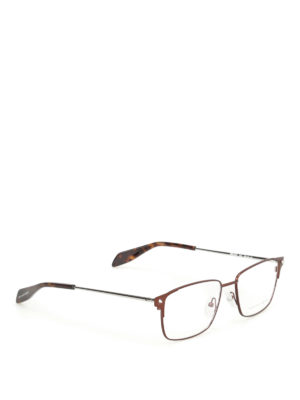 Alexander Mcqueen: glasses - Brown metal eyeglasses