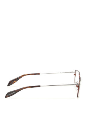 Alexander Mcqueen: glasses online - Brown metal eyeglasses
