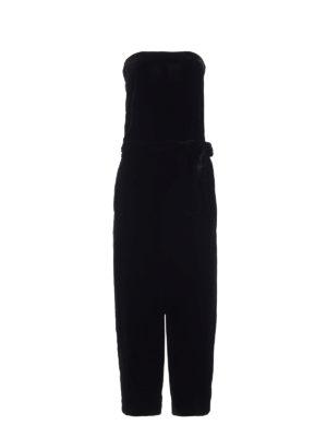 Alexander Mcqueen: jumpsuits - Velvet strapless jumpsuit
