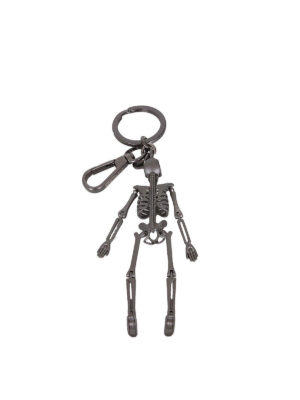 Alexander Mcqueen: key holders online - Skeleton gunmetal key holder