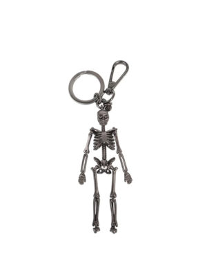 Alexander Mcqueen: key holders - Skeleton gunmetal key holder