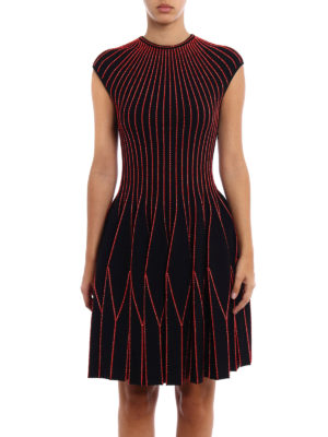 Alexander Mcqueen: knee length dresses online - Red piping short sleeves dress