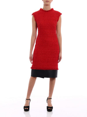 Alexander Mcqueen: knee length dresses online - Tweed and leather frayed dress