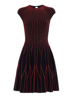 Alexander Mcqueen: knee length dresses - Red piping short sleeves dress