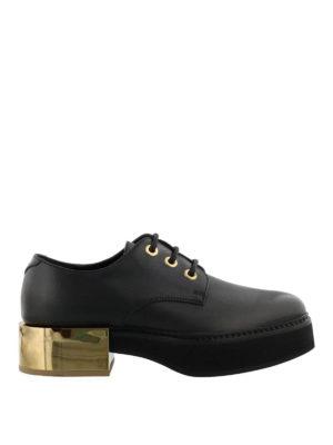 ALEXANDER MCQUEEN: scarpe stringate - Stringate in pelle con tacco oro