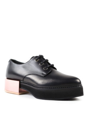 Alexander Mcqueen: lace-ups shoes online - Metallic heel lace-up creepers