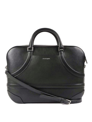 Alexander Mcqueen: laptop bags & briefcases - Harness effect leather briefcase