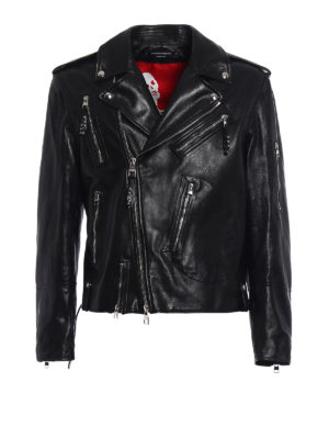 Alexander Mcqueen: leather jacket - Detachable sleeves leather jacket