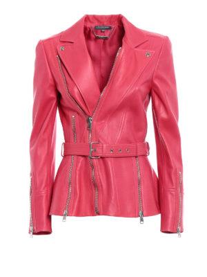 Alexander Mcqueen: leather jacket - Lamb leather zipped biker