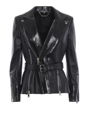 ALEXANDER MCQUEEN: giacche in pelle - Giacca biker in nappa con revers stampa cocco