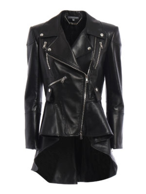 Alexander Mcqueen: leather jacket - Leather peplum biker jacket